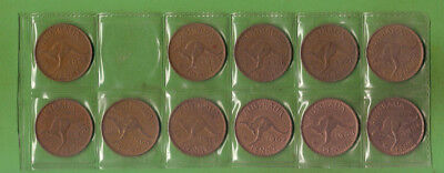 #C39. 11  DIFFERENT DATE AUSTRALIAN PENNY  COINS  1953 to 1964