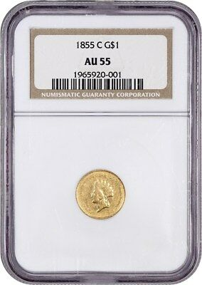 1855-C G$1 NGC AU55 (Type 2) Very Scarce C-Mint Gold Dollar - 1 Gold Coin