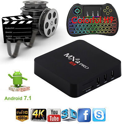 MXQPROHotTVBoxQuadCoreWIFI4K3DAndroid7.1HDMI1+8Gwith Keyboard H9