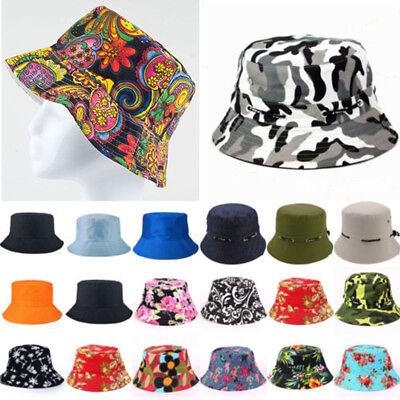 Unisex Men Women Bucket Hats Floral Boonie Hiking Fishing Cap Summer Sun Hat AU