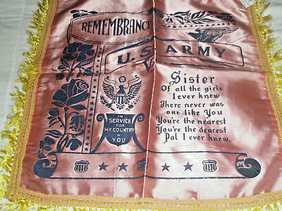 Vintage Silk Pillow Cover US Army Remembrance Sister 16 x16