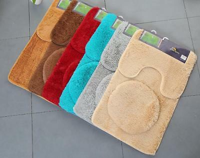 3PC Bathroom Set Rug Contour Mat Toilet LID Cover Plain Solid Color BATHMATS