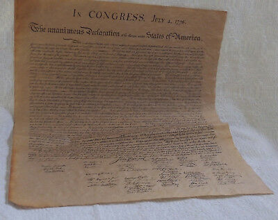 Declaration of Independence Parchment Paper US History 23 x 29 inch Replica