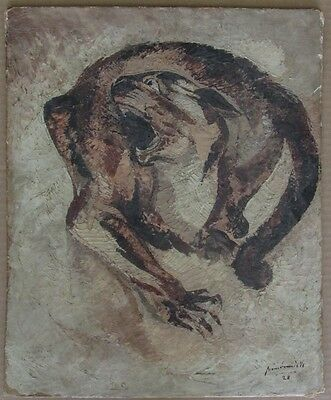 Pierre Van Parys Bourdelle (1903-1966) Art Deco Oil Painting Panther Signed 1928