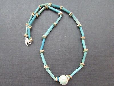 NILE  Ancient Egyptian Melonl Amulet Mummy Bead Necklace ca 600 BC