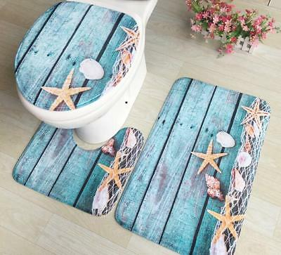 3PC Bathroom Set Rug Contour Mat Toilet Lid Cover Plain Multiple styles BATHMATS