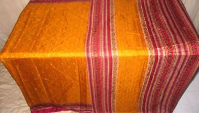 Golden Maroon Pure Silk 4 yard Vintage Sari Saree carnival Surprise Gift #9DNYH