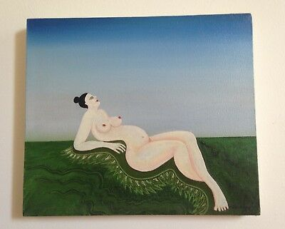 Modern Expressionist Nude Woman Oil  Painting Original Art Work Reclining Women