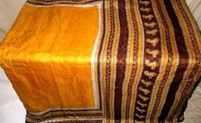Golden Coffee Pure Silk 4 yard Vintage Sari Saree HOT BARGAIN DEAL Bridal #9DNZH