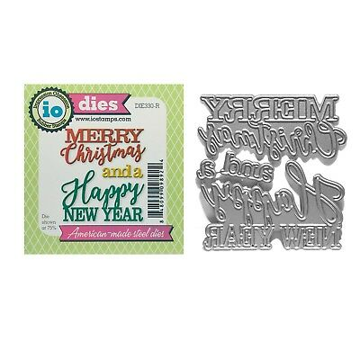 Merry Christmas Happy New Year Metal Die Cut Impression Obsession Cutting Dies