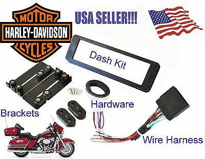 NEW Single ISO Din Radio CD Install Mount Dash Kit Wire Harness Harley Davidson