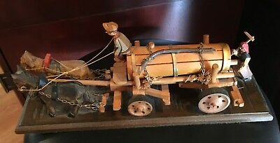 Antique Japanese Miniature Wooden Hand Carved Horse Drawn Honey Wagon