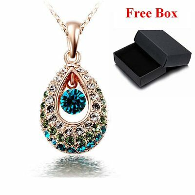 Colorful 18k Gold Elegant Rhinestone Crystal Teardrop Necklace Pendants Fashion