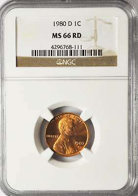 1980 D 1c Lincoln One Cent Memorial Cent NGC MS 66 RD Brilliant Uncirculated