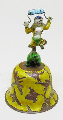 Antique Enameled Chinese Figural Woman & Dog Dinner Table Bell ~ Free Shipping