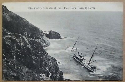 Postcard: Wreck of S.S. JEBBA at Bolt Tail, Hope Cove, S. Devon, c1910