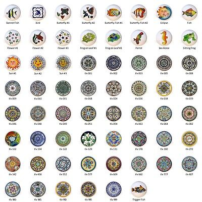 Talavera-look Mexican Art DECORATIVE Drawer Pulls Dresser KNOBS