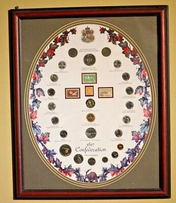 1867 - 1967 Centennial Canada Silver Dollar Set Framed early Tokens LARGE 22x18