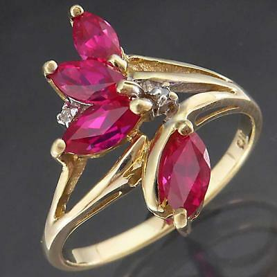 Retro Vintage Solid 9k Yellow GOLD 4 Red RUBY & 2 DIAMOND SPRAY SPRIG RING Sz P