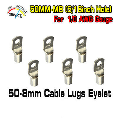 Battery Lugs Ring 50-8mm Cable 50mm² Terminals Connector Welding Wire Eyelets 6x