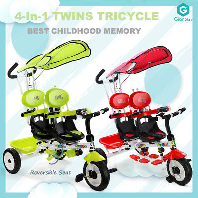 4 in 1 Tandem Tricycle Kid Stroller Toddler Ride On Trike Reversible Double Seat