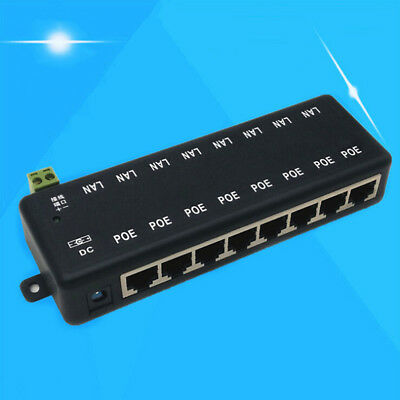 1Pc 8 port passive POE injector power over ethernet for IP network camera LF