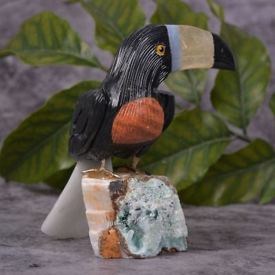 95mm Carved Black Obsidian Toucan Bird figurine with Stand decor 3.7""