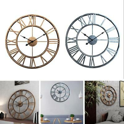 Oversized Big Metal Vintage Wall Clock Retro Wrought Iron Art Decorative