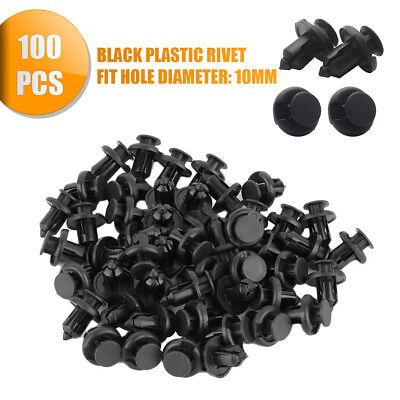 Black Plastic Push Rivet Trim Panel Fastener Clips 10mm Dia Hole for Car*100