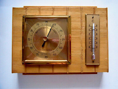 Campbell Hamburg  Wetterstation  Barometer Thermometer  Bambus-Look