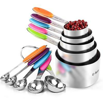 STELLAR LABS 10 Piece Stainless Steel Measuring Cup and Spoon Set ~ Anti-Slip