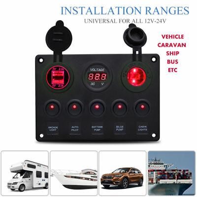 5Gang ON OFF Toggle Switch Control Panel 2USB Charger 4.2A for Car Marine Boat R