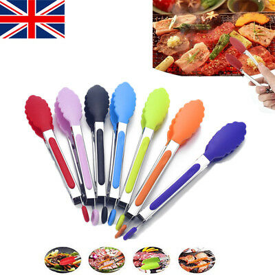 8'' Silicone Mini Kitchen Tongs Cooking Salad Serving BBQ Stainless Steel Handle