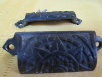 Vintage Cast Iron Shell Cup Pull Cabinet Cupboard Chest Drawer Draw Pull Handles