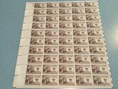 1950 - BOY SCOUTS - Vintage Full Mint Sheet of 50 U.S. Postage Stamps FREE SH