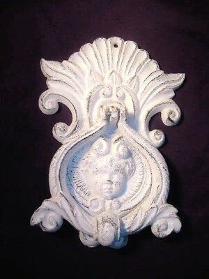 "Antique Victorian Cherub? Angel? Face 8 1/2"" Cast Iron Door Knocker"