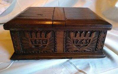 18th century carved oak box dated 1745 Initials TMC