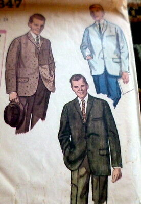 VTG 1950s MENS JACKET Sewing Pattern CHEST 34