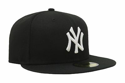 New Era 59Fifty MLB Cap New York Yankees FITTED hat  BLACK W WHITE LOGO