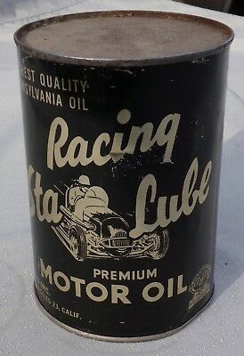*rare* Racing Sta-Lube Premium Motor Oil 1 Quart Can W/ Race Car  Never Opened