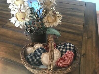 Farmhouse Plaid Ornies Bowl Fillers PrImITive Hearts Red Blue Tan Americana