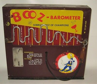 Vintage Booz Barometer 5 Cent Coin-op Coin Operated Skill Game Trade Simulator