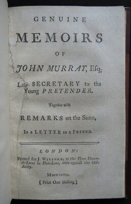 MEMOIR Sir JOHN MURRAY *1747* SECRETARY BONNIE PRINCE CHARLIE Scotland JACOBITE