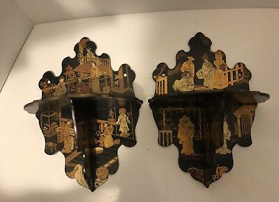 Antique Victorian Chinese Chinoiserie Black & Gold Lacquer Wall Bracket Shelf