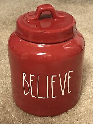 New Rae Dunn By Magenta BELIEVE Christmas Red Canister 2018