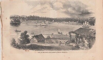 1852 Antique Engravings - OREGON TERRITORY - City of St Helens - Early Railway