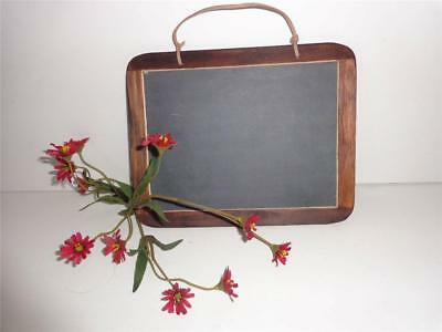 RUSTIC SLATE CHALKBOARD DARK Wood STAIN ANTIQUE DOUBLE SIDED 9 X 7 FRAME STRAP