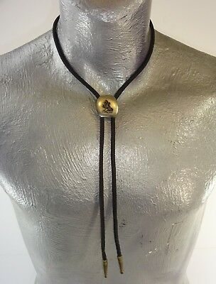 Vintage Silver tone Lion En Passant Bolo Tie w/ Black Braid & Brass Tips