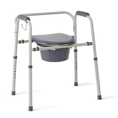 Medline Steel 3-in-1 Bedside Commode, Portable Toilet with Microban Antimicrobia