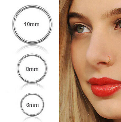 Surgical Steel 0.8mm Cartilage Piercing Stud Thin Small Ring Hoop Nose